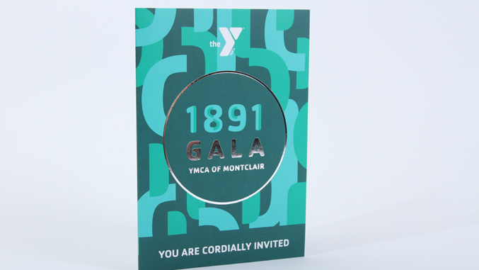 YMCA 1891 gala event invitation design front cover with silver foil stamp