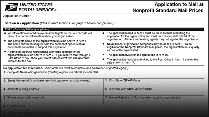 USPS Form PS3624 application for nonprofit indicia