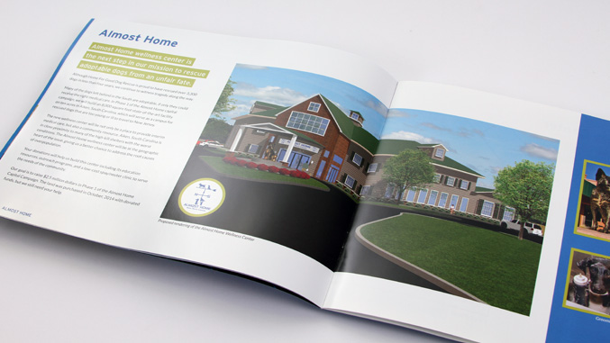 Brochure design for a dog rescue not for profit capital campaign, interior spread.