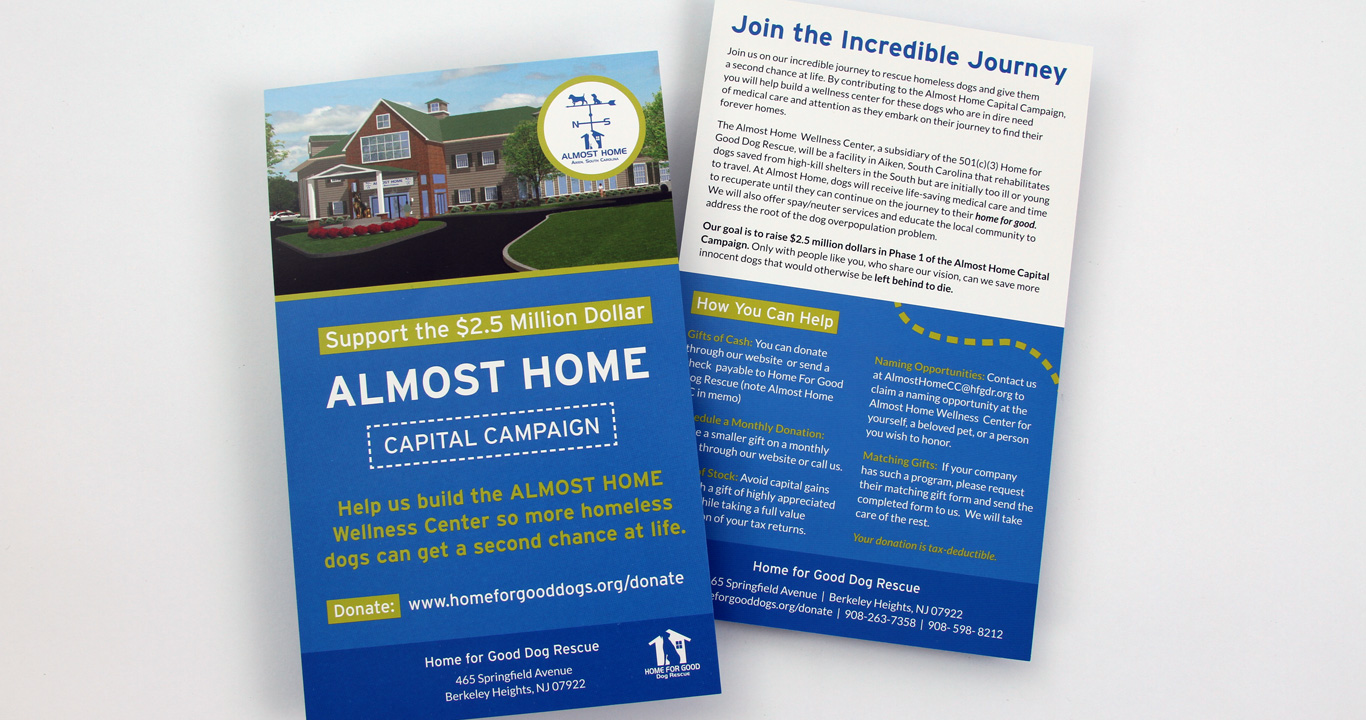 Capital campaign postcard design.