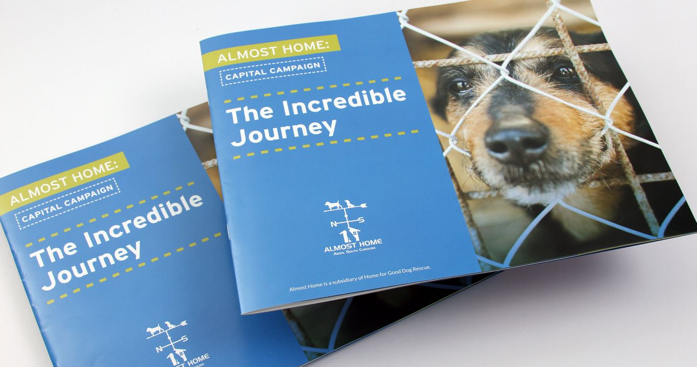 Brochure design for a dog rescue not for profit capital campaign, front cover.