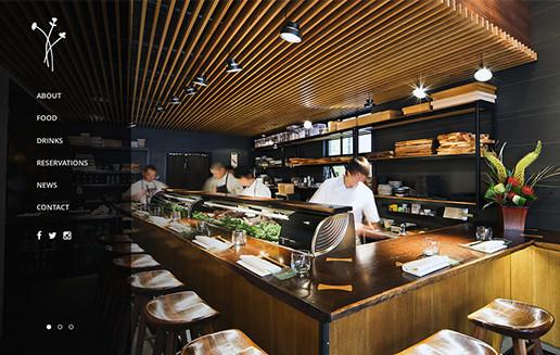 Homepage of Akikos Sushi. Multi-location restaurant website design company