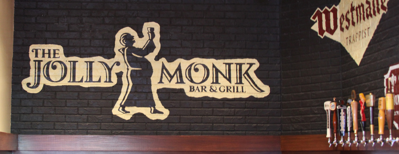 Restaurant logo designer. Restaurant logo design for The Jolly Monk Bar in NYC.