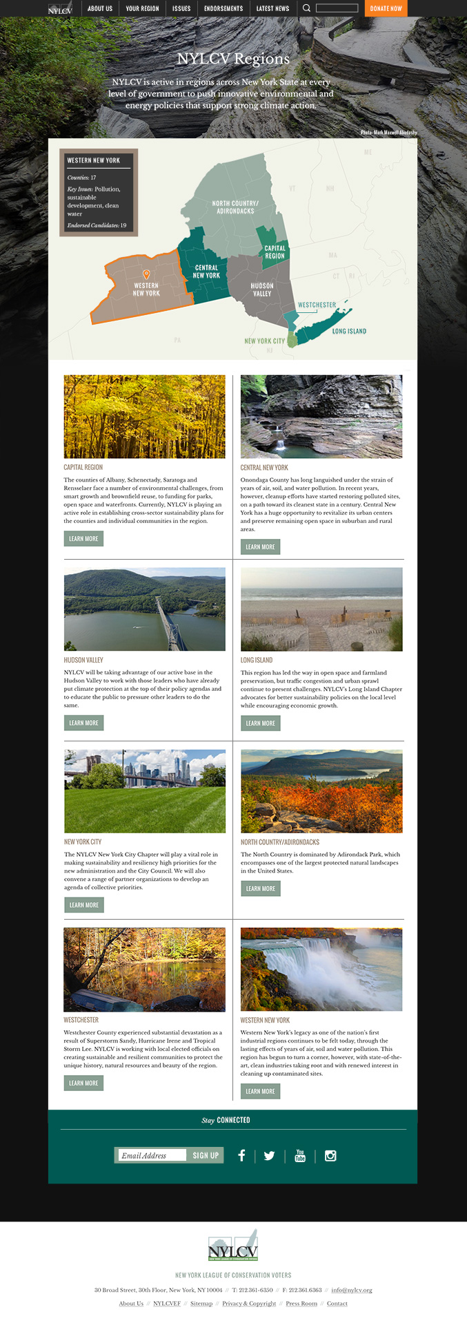 Environmental Website Design NYLCV Regions Page