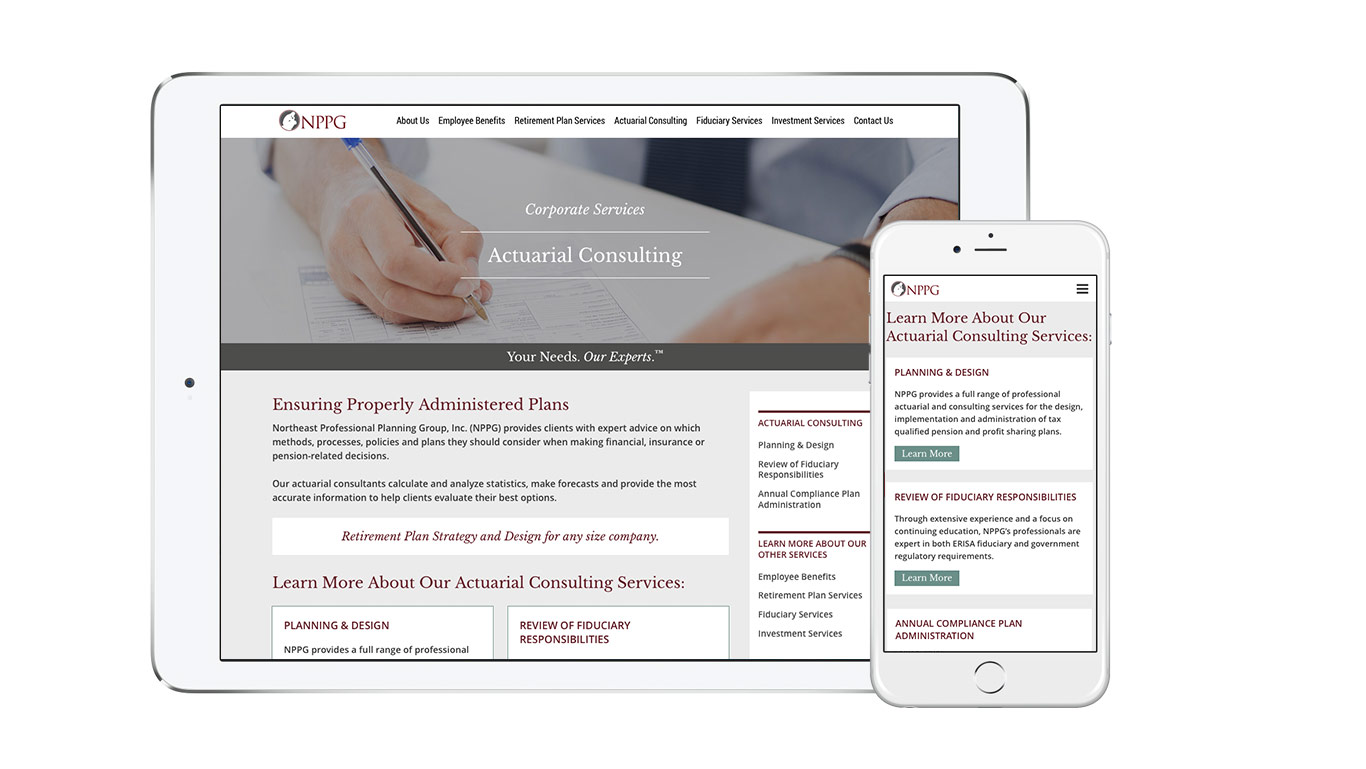 Website design for corporate financial services company, Northeast Professional Planning Group