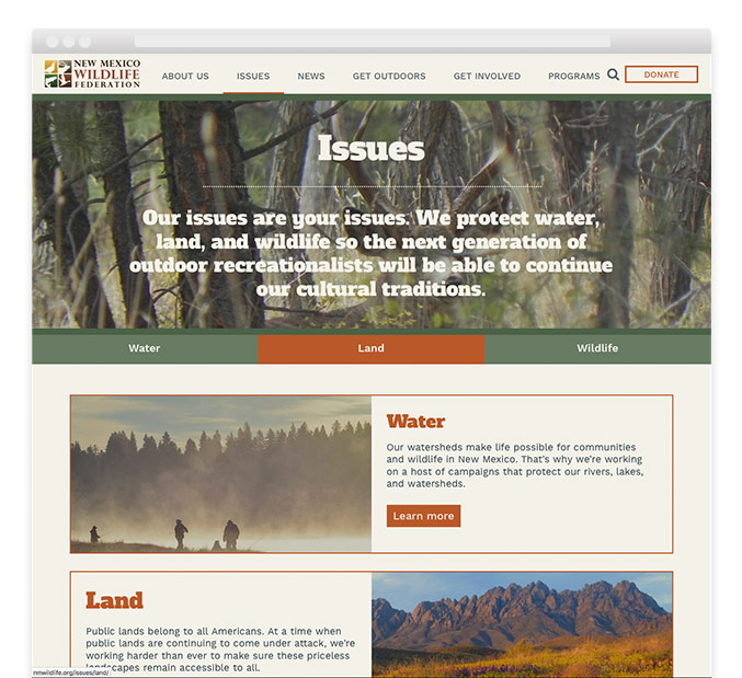 New Mexico Wildlife Federation website issues page