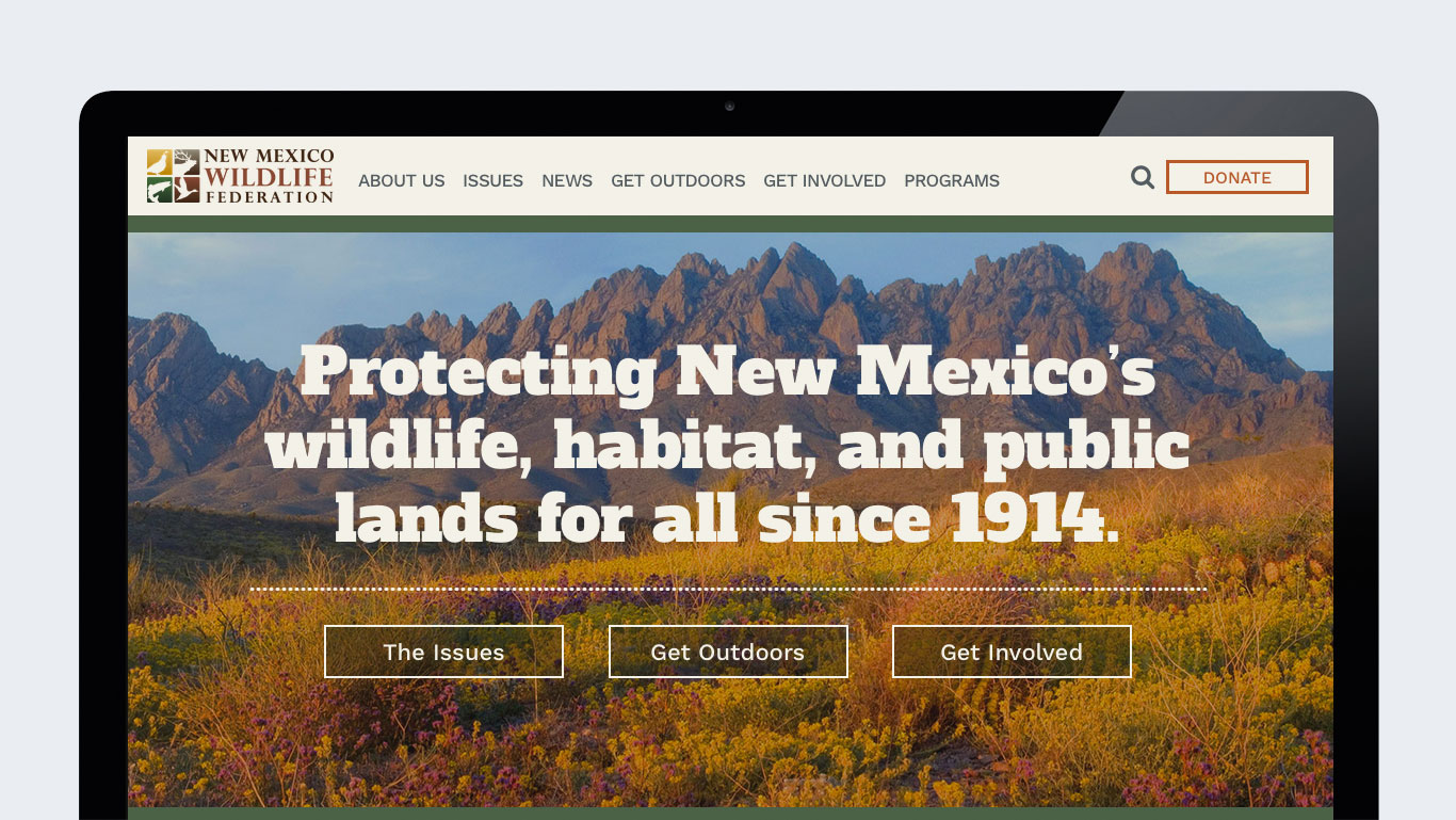 Responsive website for New Mexico Wildlife Federation