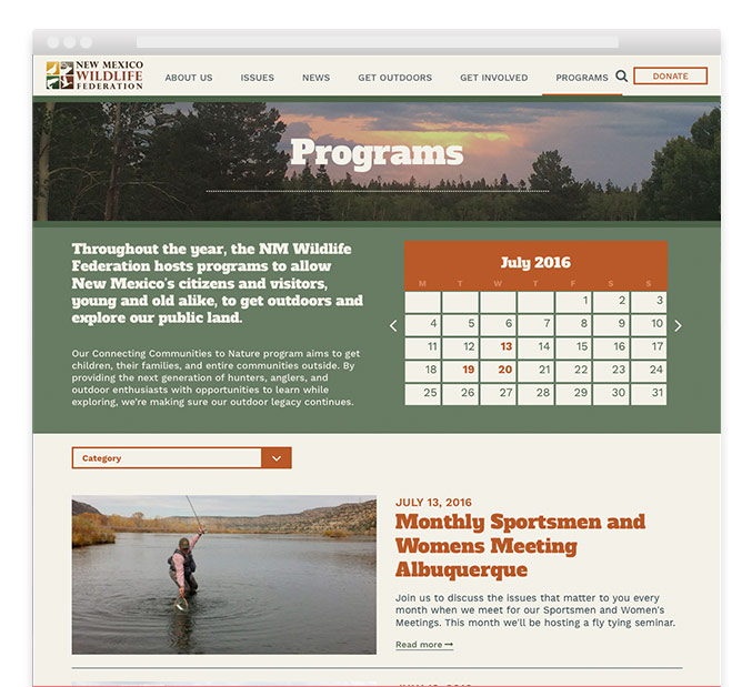 NM Wildlife Federation nonprofit website programs page