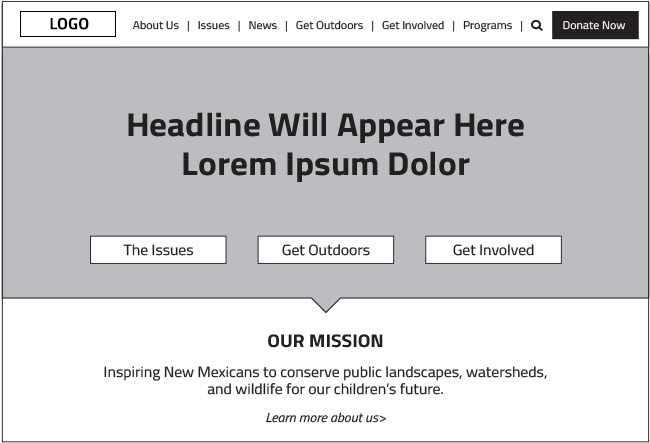 Example of a wireframe in web design