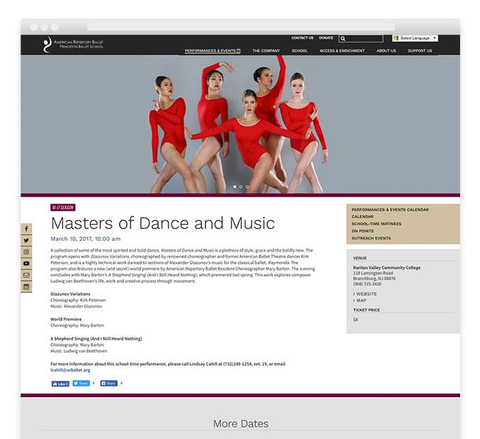 Ballet website design – American Repertory Ballet – Trillion Creative
