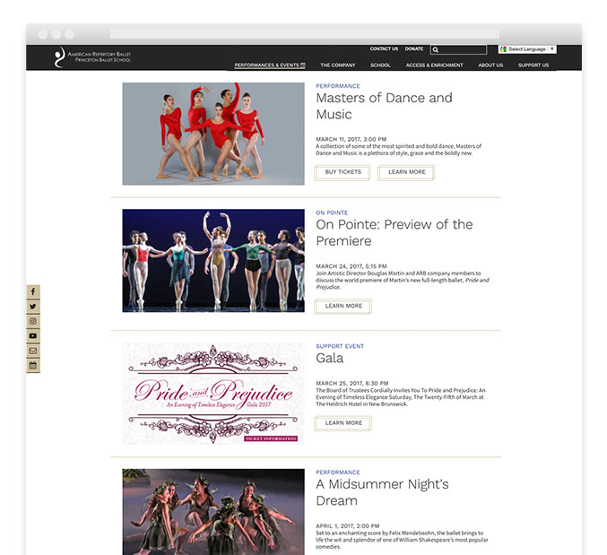 Ballet website design – American Repertory Ballet – Trillion Creative