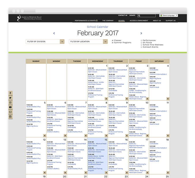 Calendar Design For Website : Website design calendar trillion creative