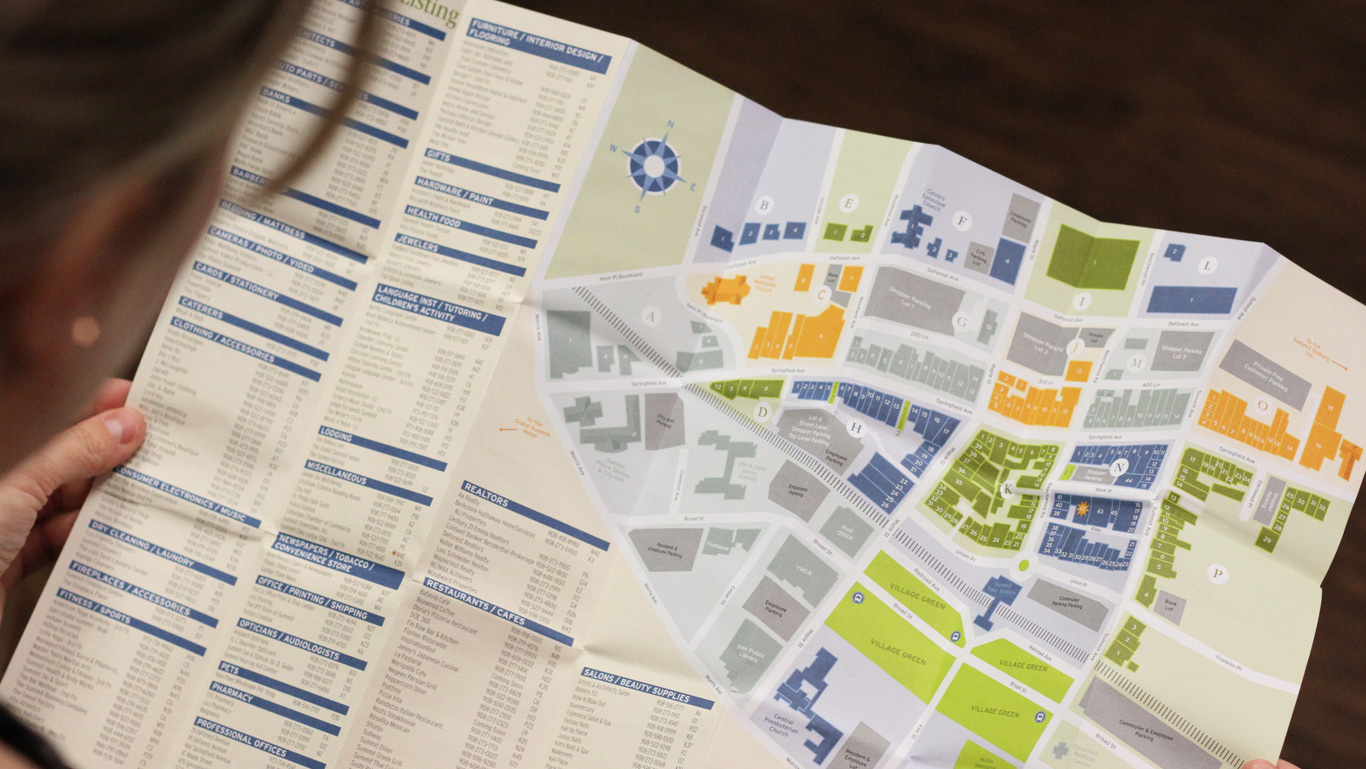 Summit Downtown mini foldout retailer map design – Trillion Creative