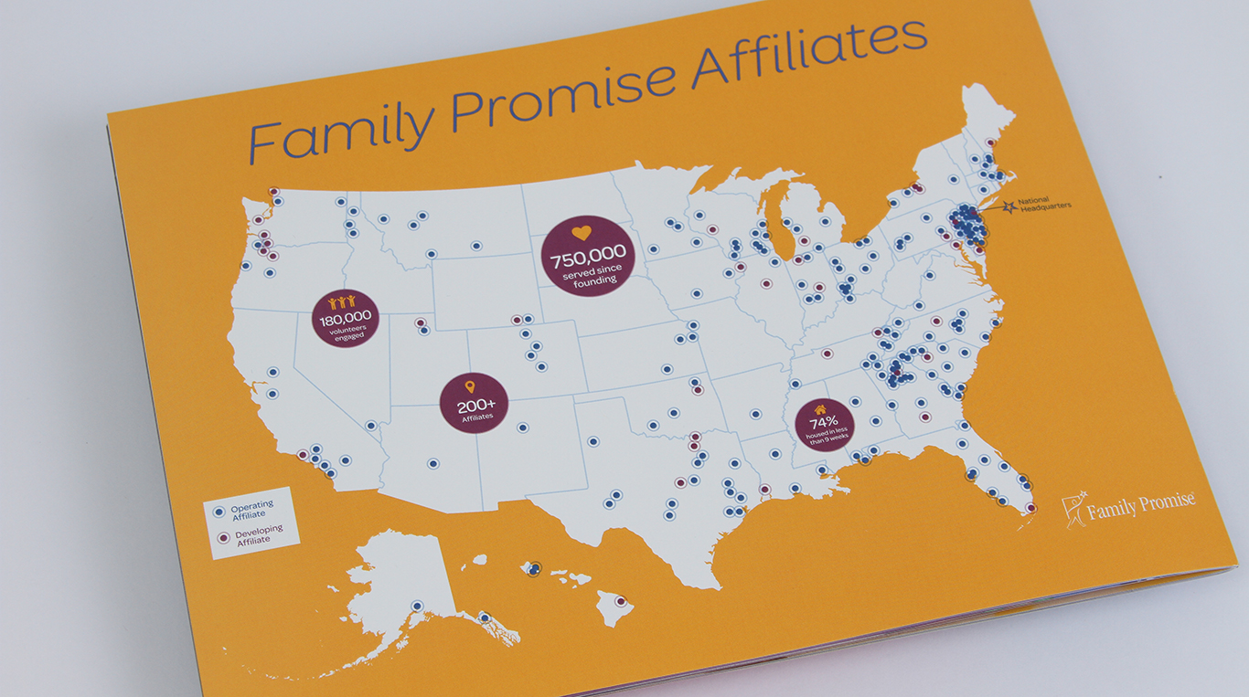 Family Promise 2016 Annual report print design not for profit map infographic