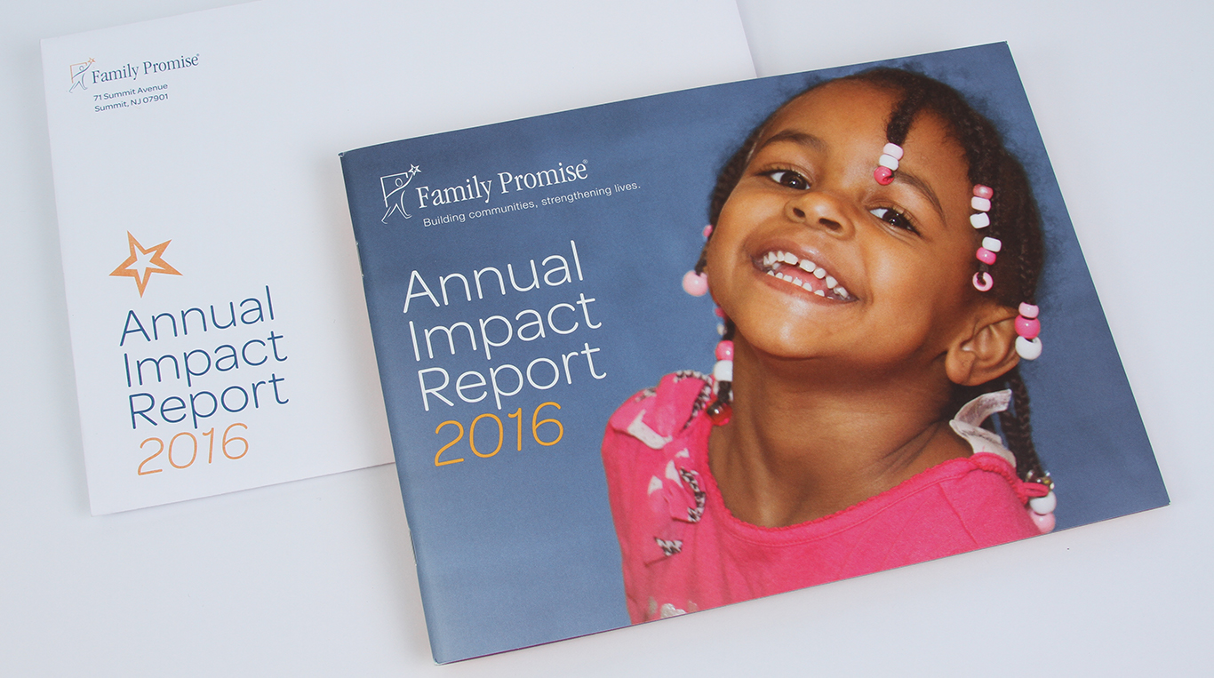 Family Promise 2016 Annual report print design not for profit front cover