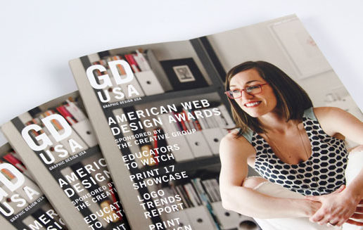 Photo of three Graphic Design USA magazines with the American Web Design Awards on the front cover.