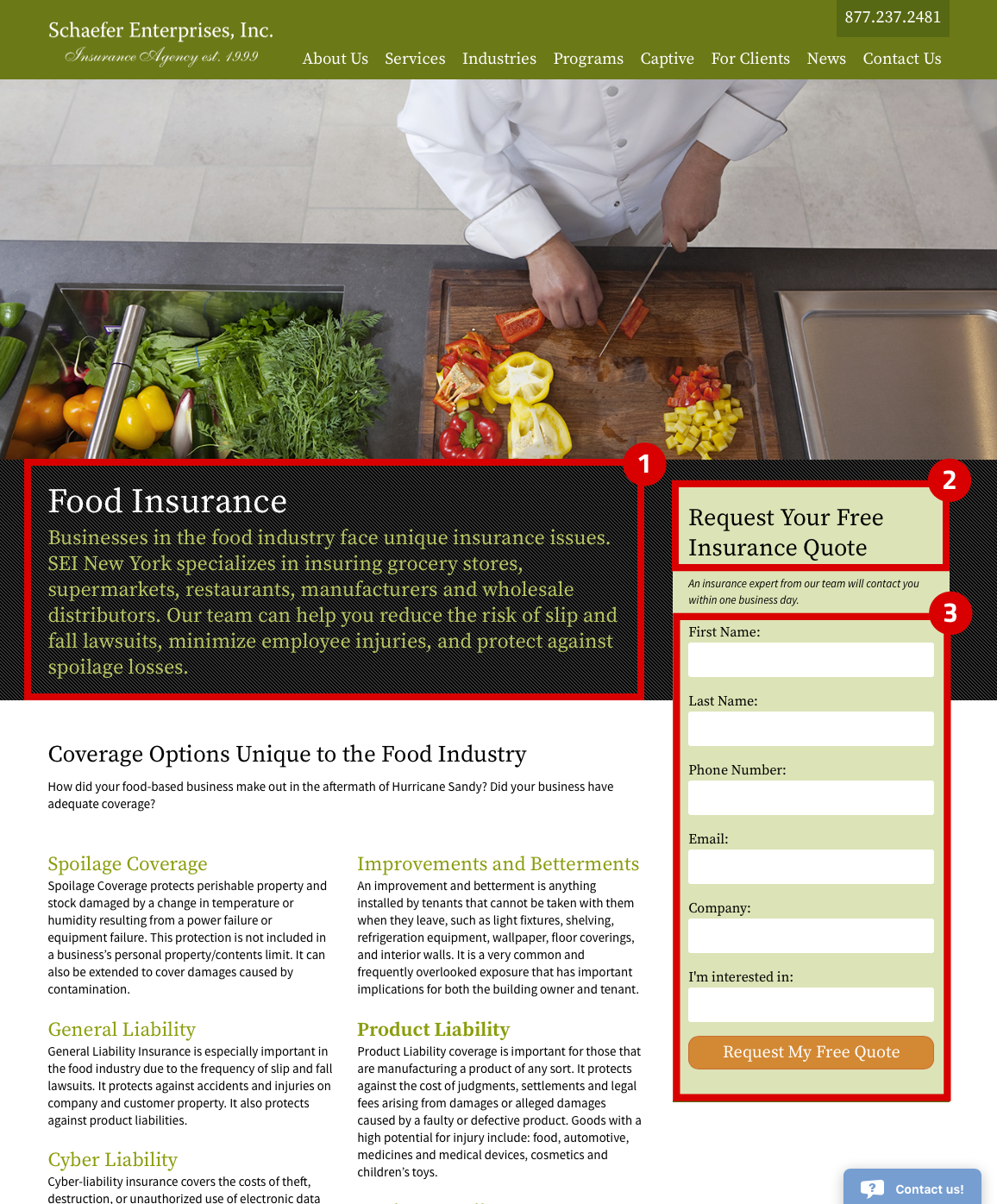 Schaefer Enterprises food insurance landing page design for SEO and lead engagement with a form and short description