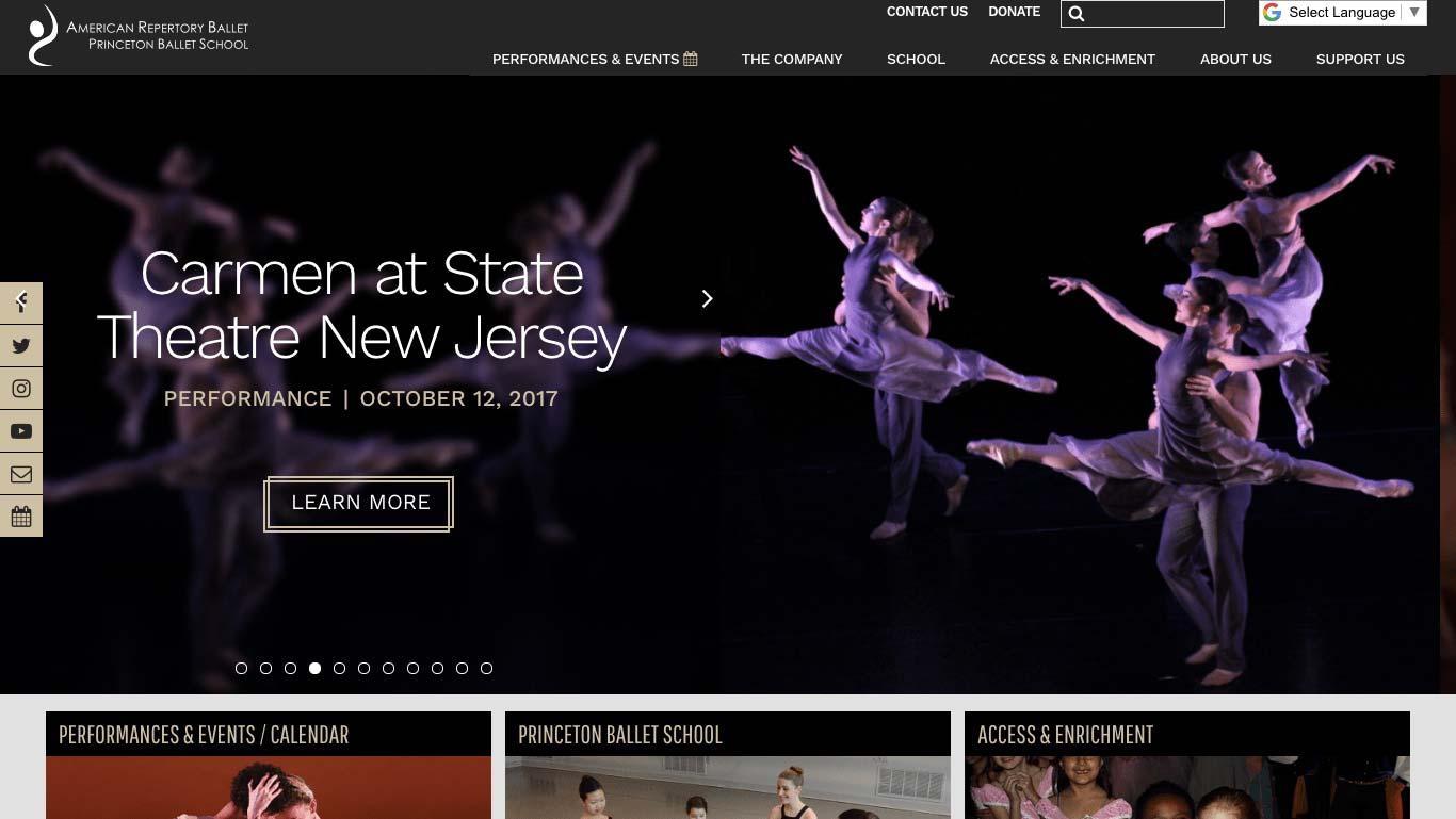 american repertory ballet website design agency trillion summit nj