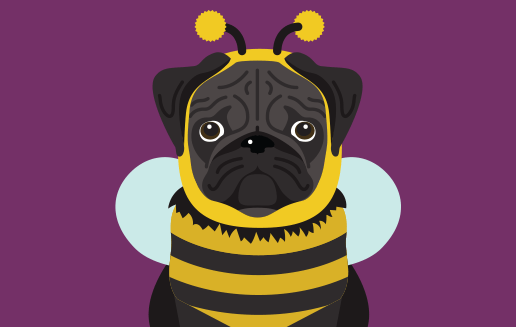 pugs in halloween costumes, illustration, pugs, puns, shirts, desktop wallpaper background