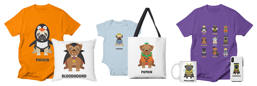 pugs in halloween costumes, illustration, pugs, puns, shirts, mugs, blankets, pillows, bags