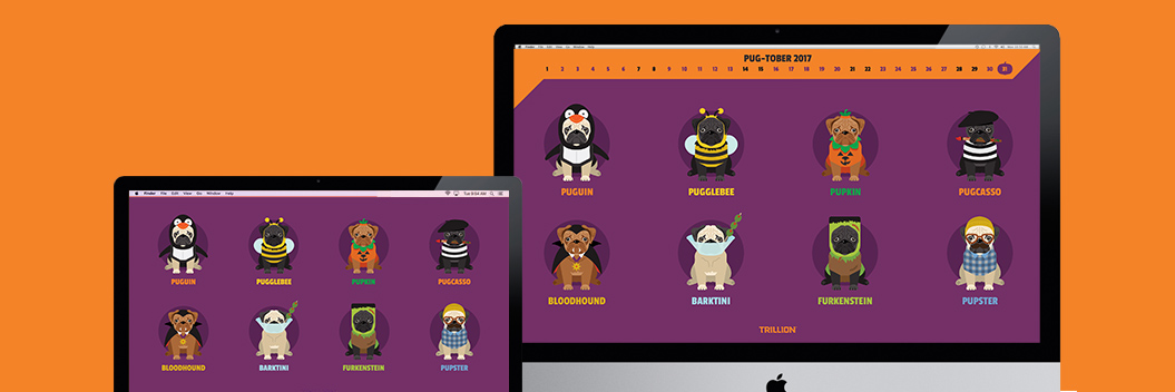 pugs in halloween costumes, illustration, pugs, puns, desktop wallpaper background