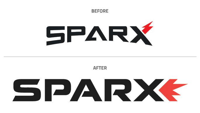 sparx logo before after design