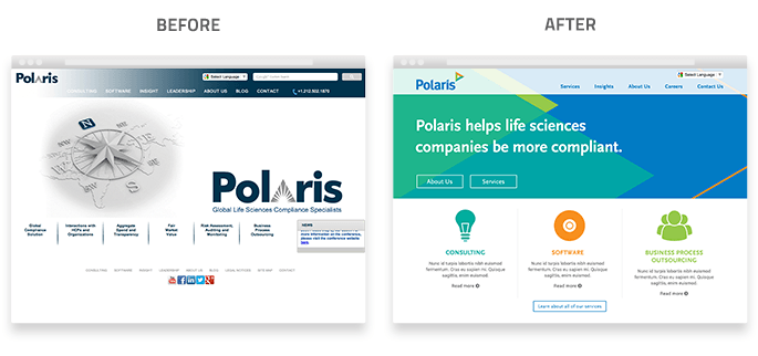 Polaris Website Design Before After Branding NJ